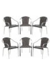 Cadeiras 6Un Para Area Varanda Fibra Sintetica Sala Cozinha Jardim Sacada Pinheiro - Tabaco