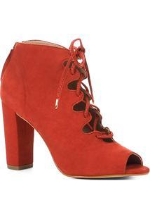Ankle Boot Shoestock Nobuck Lace Up - Feminino-Caramelo