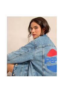 Jaqueta Jeans Marmorizada Pepsi Com Bolsos Azul Médio