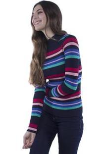 Blusa Pop Me Tricô Listrado Colorido Feminina - Feminino-Marinho