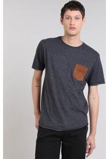 Camiseta Masculina Botonê Com Bolso Manga Curta Gola Careca Cinza Mescla Escuro
