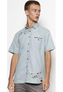 Camisa Jeans Slim Com Bolso- Azul Claro- Colccicolcci