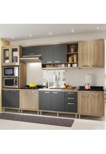 Cozinha Completa 15 Portas 3 Gavetas Sicilia 5834 Premium Argila/Grafite - Multimóveis