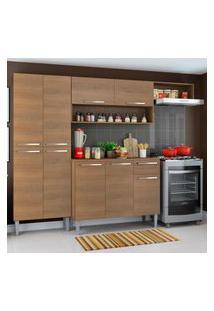 Cozinha Compacta Madesa Emilly Top Com Armário E Balcáo Marrom