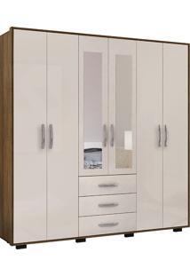 Guarda Roupa Casal Com Espelho Málaga Plus 6 Portas - Colibri - Canela Rústico / Off White