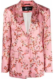Luisa Cerano Blazer Com Abotoamento Simples E Estampa Floral - Rosa
