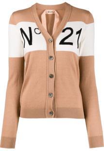 Nº21 Cardigan De Tricô Com Padronagem - Neutro