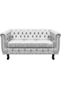 Sofá 3 Lugares Chesterfield Couro Branco - D'Rossi - Tricae
