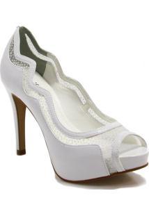 Sapato Peep Toe Zariff Shoes Noivas Glitter - Feminino-Branco