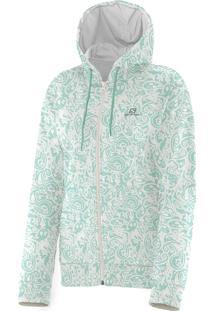 Blusa Feminina Salomon Logo Graphic Fz Hoodie Verde E Branca Tam. G