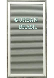 Quadro Madeira Plástico Alfabeto Cinza Letras Verdes 26,7X2X52Cm Urban