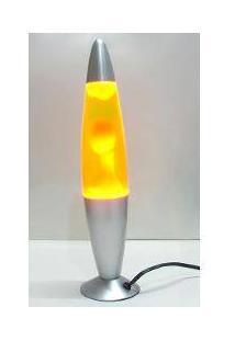 Luminária / Abajur - Lava Lamp / Lava Motion - Dourado Com Líquido Amarelo - 41 Cm - 110 V