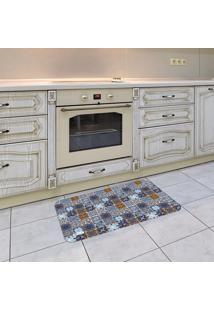 Tapete De Cozinha Mdecore Azulejo Azul 40X60Cm
