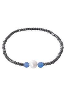 Pulseira Feminina Chandra Hematita, Pérola E Jade Azul - Cinza