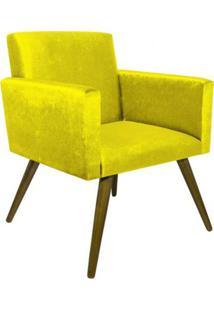 Poltrona Decorativa Pés Palito Nina Suede Amarelo - Ds Móveis