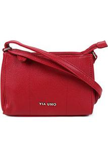 Bolsa Via Uno Mini Bag Eco Verniz Feminina - Feminino-Vermelho