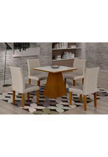 Conjunto De Mesa De Jantar Luna Com 4 Cadeiras Ane Iii Linho Imbuia E Branco