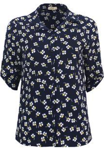 Camisa Intens Manga 3/4 Crepe Floral Azul