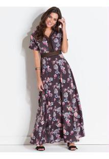 6cfffe0e1 Vestido Quintess Floral Dark Detalhe De Renda