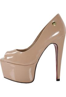 Peep Toe Week Shoes Meia-Pata Salto 15 Verniz Nude