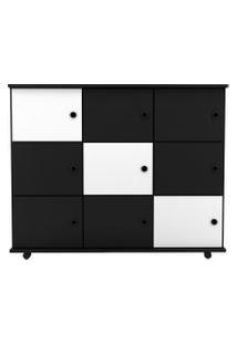 Nicho Multiuso Organizador Com Rodízios Amá 9 Portas Preto/Preto/Branco - Mpozenato