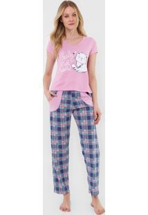 Pijama Bella Fiore Modas Longo Alice Rosa - Kanui