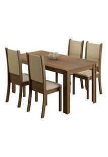 Conjunto Sala De Jantar Madesa Melissa Mesa Tampo De Madeira Com 4 Cadeiras Rustic/Crema/Sintético Bege Rustic/Crema/Sintético Bege