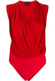 Pinko Sleeveless Wrap Style Body - Vermelho