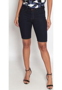 Bermuda Jeans Com Pespontos-Azul Escuro-Fio Brasilfio Brasil