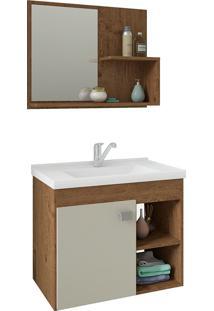 Conjunto Para Banheiro Com 1 Porta E Cuba Lotus-Mgm - Amendoa / Off White