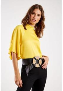 Blusa Sensualite Sacada Feminina - Feminino-Amarelo