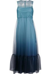 Redvalentino Vestido Sem Mangas Com Sobreposição - Azul