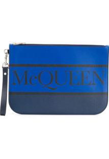 Alexander Mcqueen Logo Zipped Clutch - Azul