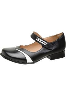 Sapato Feminino Miuzzi Preto / Branco Ref: 3214