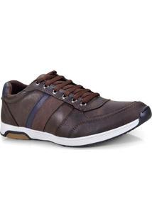 Sapatenis Masc Ped Shoes 15050-B Cafe Kit C/ Relogio