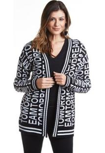 Cardigã Wool Line Tricot Holograma Feminino - Feminino-Preto