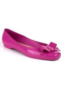 Sapatilha Tag Shoes Pvc Laço Bico Quadrado Feminina - Feminino-Rosa