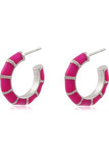Brinco Viva Jolie Argola Pequena Colors Rosa Pink Ródio