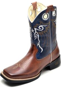 Bota Country Bico Quadrado Top Franca Shoes Pinhao / Azul