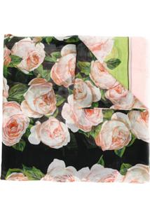 Dolce & Gabbana Cachecol De Seda Com Estampa De Rosas