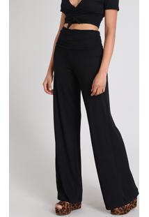 Calça Feminina Pantalona Cós Largo Preta