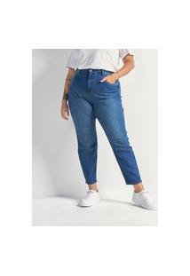 Calça Mom Jeans Sem Estampa Curve & Plus Size   Ashua Curve E Plus Size   Azul   52