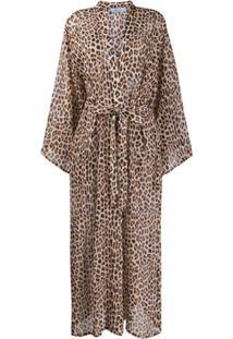 Blumarine Vestido Com Estampa De Leopardo - Marrom