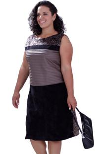 Vestido Three Colors Plus Size Vickttoria Vick Plus Size Preto