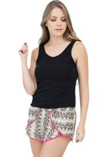 Pijama Curto Inspirate Com Short Boxer Cobra Feminino - Feminino-Cobra