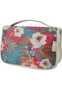 Necessaire De Viagem Estampada Jacki Design Miss Douce Bege Floral - Kanui