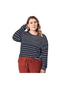 Blusa Feminina Plus Size Formitz Listrada Marinho/Nude