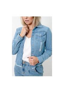 Jaqueta Sisal Jeans Sem Cós Botão Revestido Light Blue