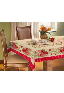 Toalha De Mesa Vilela Enxovais Vilela Enxovais Rústica Retangular 2,10M X 1,40M Floral Vermelha