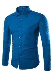 Camisa Social Masculina Slim Manga Longa - Blue